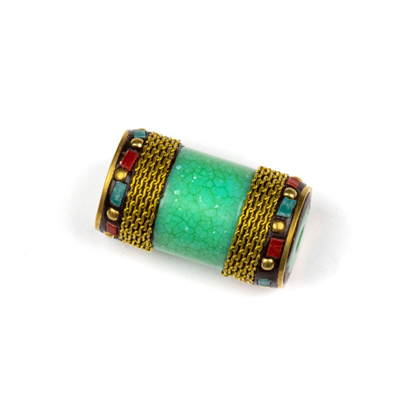Tibetan Brass 22x33mm Green Tube Focal Bead with Brass Band, Red Coral and Turquoise Howlite Chip Inlay - 1 per bag