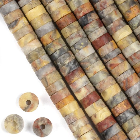 Matte Large Hole Crazy Lace Agate 3-5x10mm Heishi with 2.5mm Drilled Hole - approx. 8 inch strand