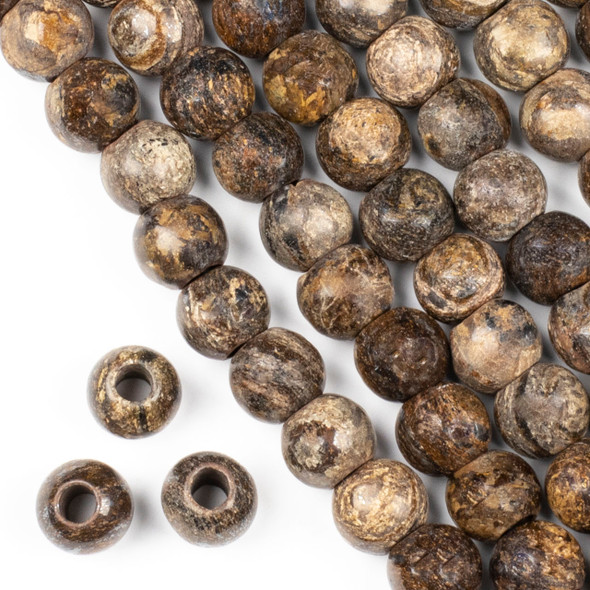 """Large Hole Bronzite """"C"""" Grade 12mm Round Beads with a 4mm Drilled Hole - approx. 8 inch strand"""