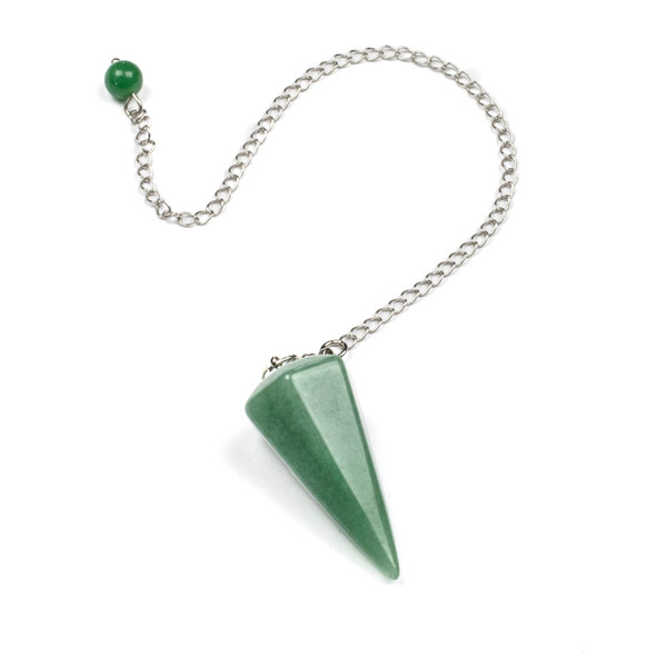 """Faceted Green Aventurine 20x40mm Pendulum with 7"""" Silver Plated Brass Chain and 6mm Round Bead - 1 per bag"""