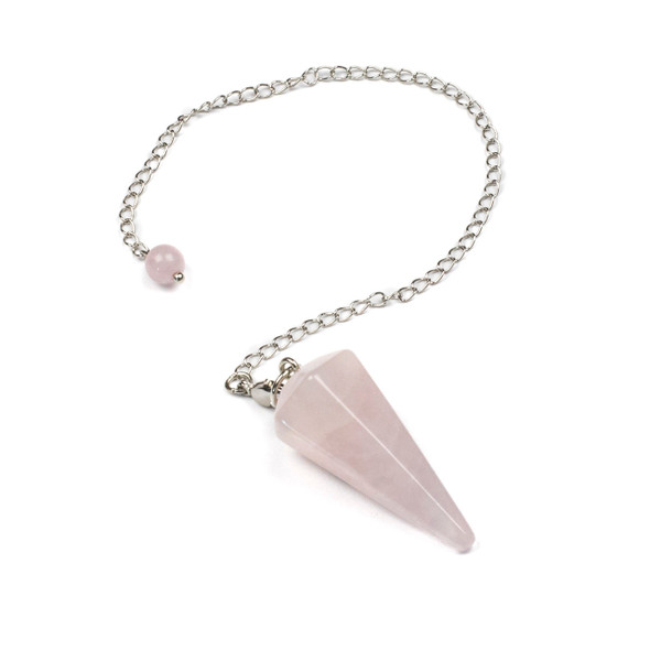 """Faceted Rose Quartz 20x40mm Pendulum with 7"""" Silver Plated Brass Chain and 6mm Round Bead - 1 per bag"""