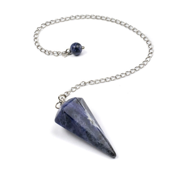 """Faceted Sodalite 20x40mm Pendulum with 7"""" Silver Plated Brass Chain and 6mm Round Bead - 1 per bag"""