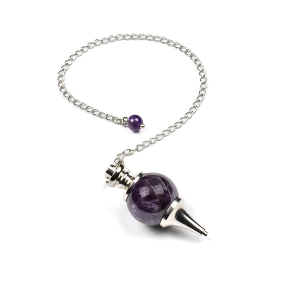"""Amethyst 18x48mm Pendulum with 7"""" Silver Plated Brass Chain and 6mm Round Bead - 1 per bag"""