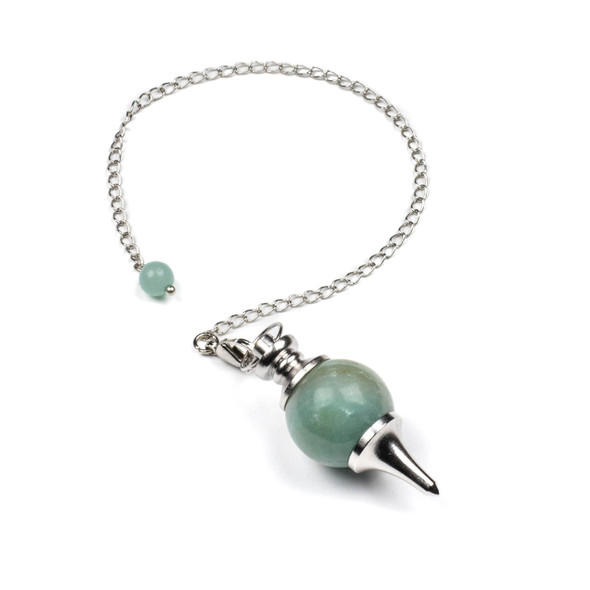 """Amazonite 18x48mm Pendulum with 7"""" Silver Plated Brass Chain and 6mm Round Bead - 1 per bag"""