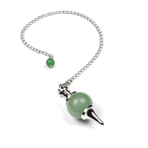 """Green Aventurine 18x48mm Pendulum with 7"""" Silver Plated Brass Chain and 6mm Round Bead - 1 per bag"""
