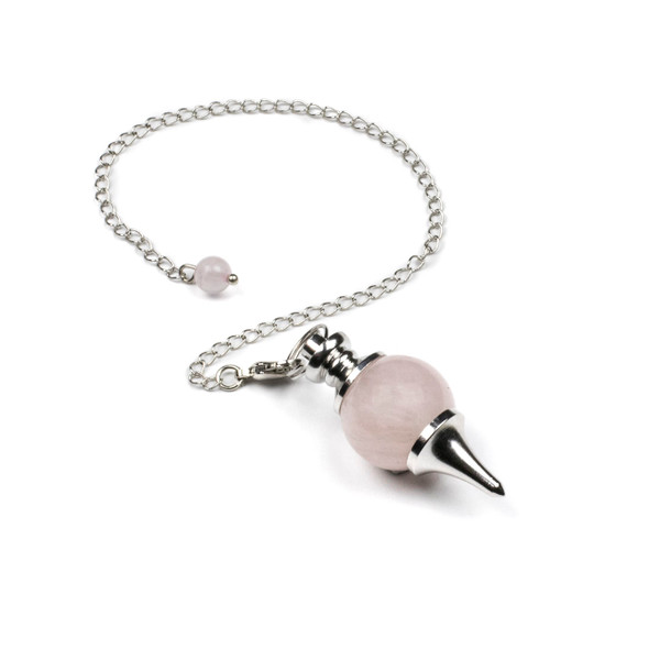 """Rose Quartz 18x48mm Pendulum with 7"""" Silver Plated Brass Chain and 6mm Round Bead - 1 per bag"""