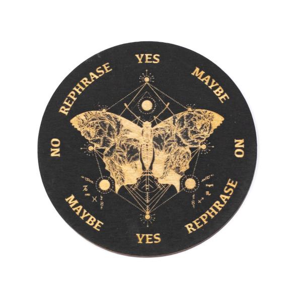 Black Butterfly Pendulum Board  - 4 inch, Painted Birch Wood