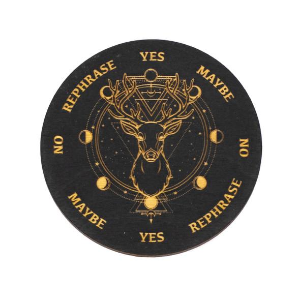 Black Deer Pendulum Board  - 4 inch, Painted Birch Wood