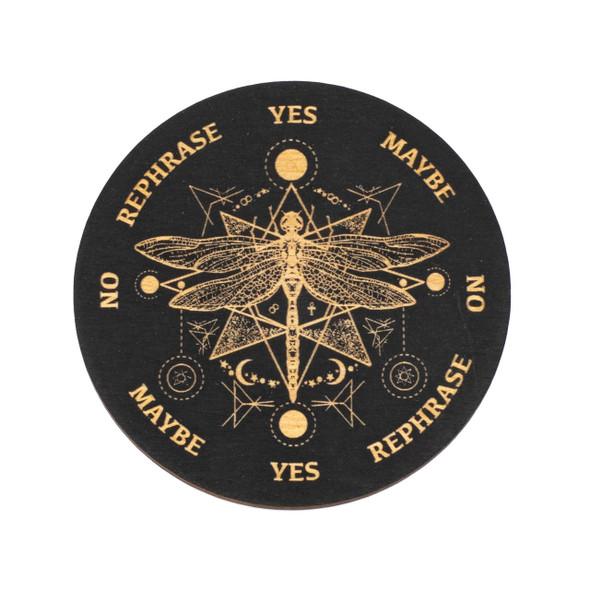 Black Dragonfly Pendulum Board  - 4 inch, Painted Birch Wood