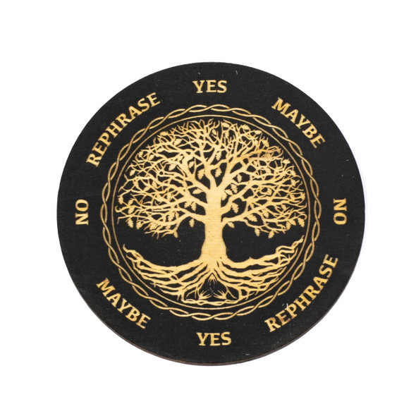 Black Tree of Life Pendulum Board  - 4 inch, Painted Birch Wood