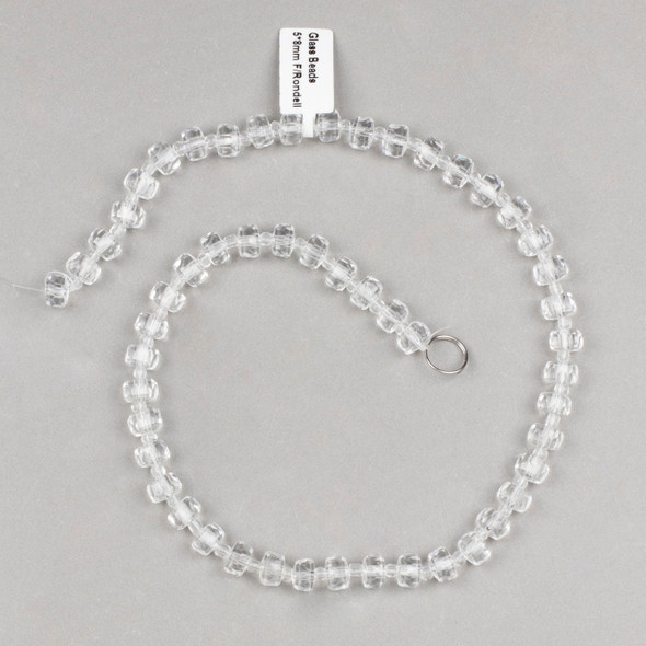 Crystal 5x8mm Clear Faceted Heishi Beads - 16 inch strand
