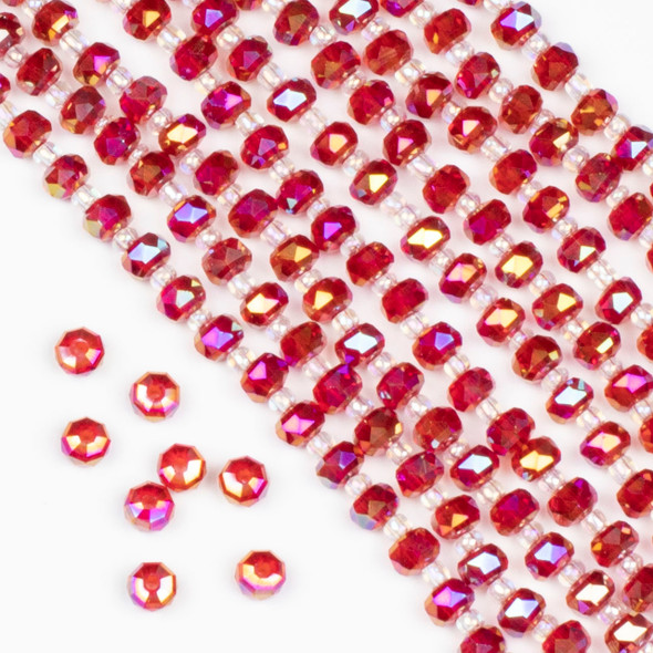Crystal 4x6mm Red Faceted Heishi Beads with an AB finish - 16 inch strand