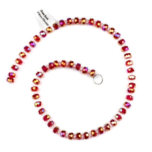 Crystal 5x8mm Red Faceted Heishi Beads with an AB finish - 16 inch strand