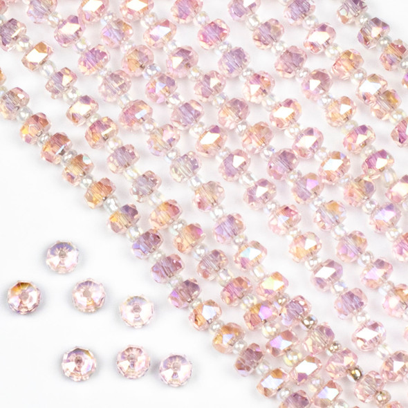Crystal 4x6mm Pink Faceted Heishi Beads with an AB finish - 16 inch strand