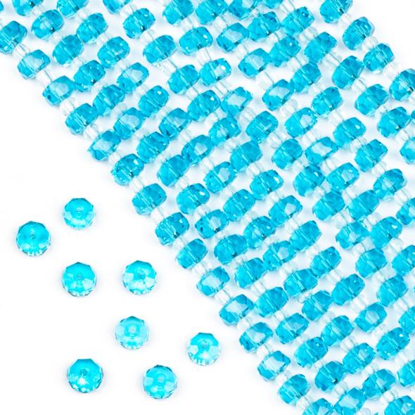 Crystal 4x6mm Aqua Blue Faceted Heishi Beads - 16 inch strand