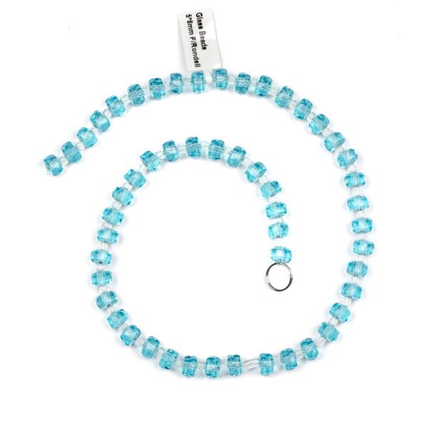 Crystal 5x8mm Aqua Blue Faceted Heishi Beads - 16 inch strand