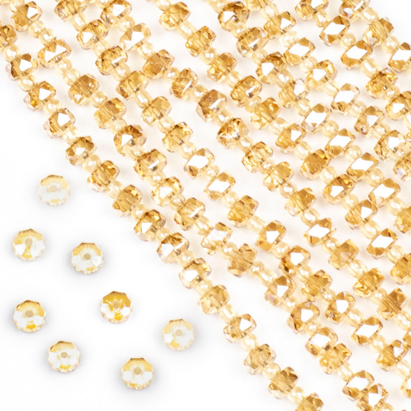 Crystal 4x6mm Champagne Faceted Heishi Beads - 16 inch strand