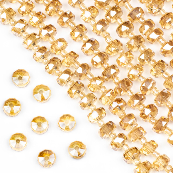 Crystal 5x8mm Champagne Faceted Heishi Beads - 16 inch strand