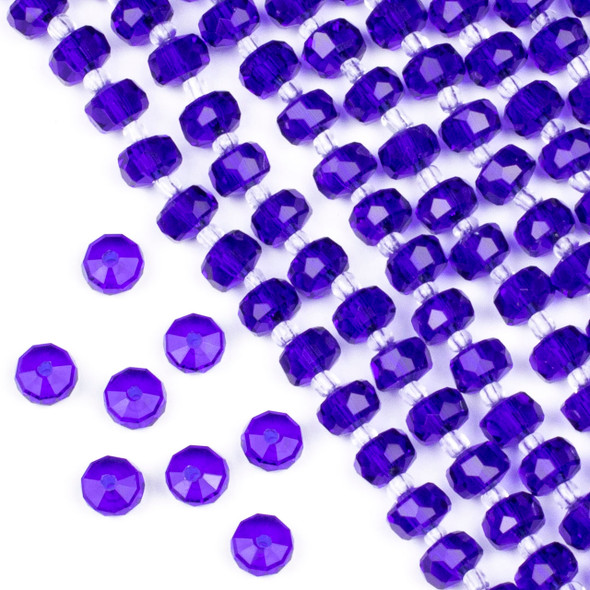 Crystal 5x8mm Cobalt Blue Faceted Heishi Beads - 16 inch strand