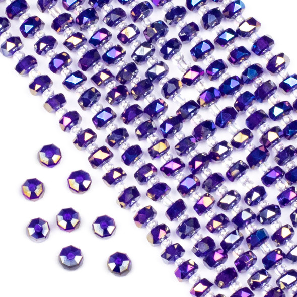 Crystal 4x6mm Opaque Blue and Purple Rainbow Faceted Heishi Beads - 16 inch strand