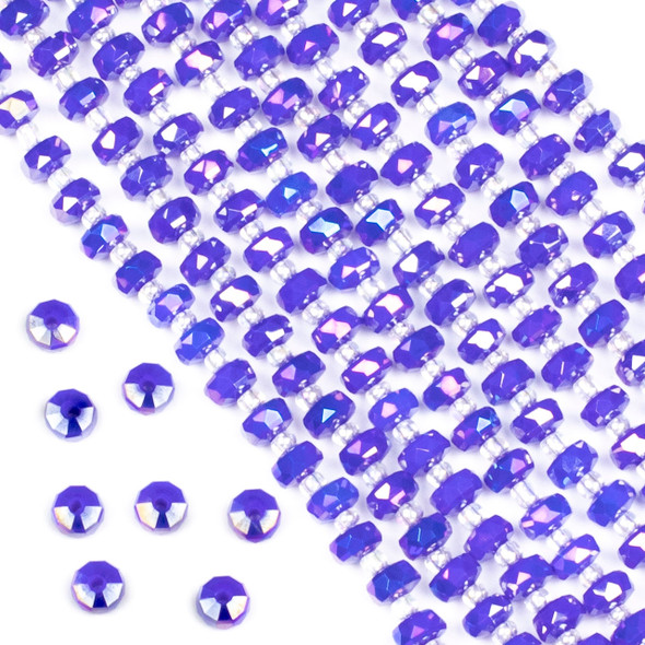 Crystal 4x6mm Opaque Cornflower Blue Faceted Heishi Beads with an AB finish - 16 inch strand