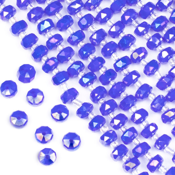 Crystal 5x8mm Opaque Cornflower Blue Faceted Heishi Beads with an AB finish - 16 inch strand