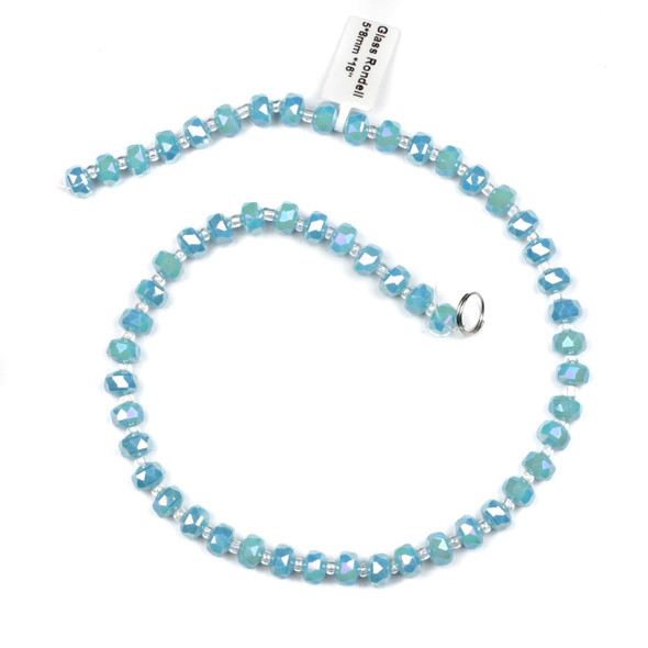 Crystal 5x8mm Opaque Wedgewood Blue Faceted Heishi Beads with an AB finish - 16 inch strand