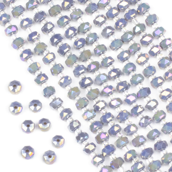 Crystal 4x6mm Opaque Blue Grey Faceted Heishi Beads with an AB finish - 16 inch strand