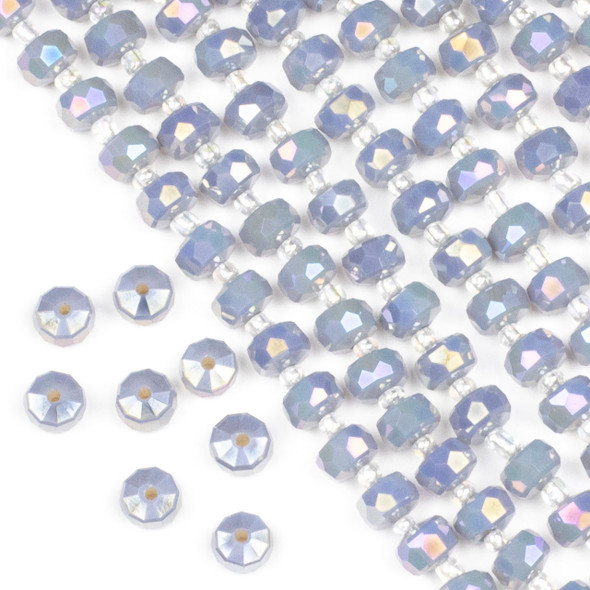 Crystal 5x8mm Opaque Blue Grey Faceted Heishi Beads with an AB finish - 16 inch strand