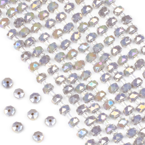 Crystal 4x6mm Opaque Grey Faceted Heishi Beads with an AB finish - 16 inch strand