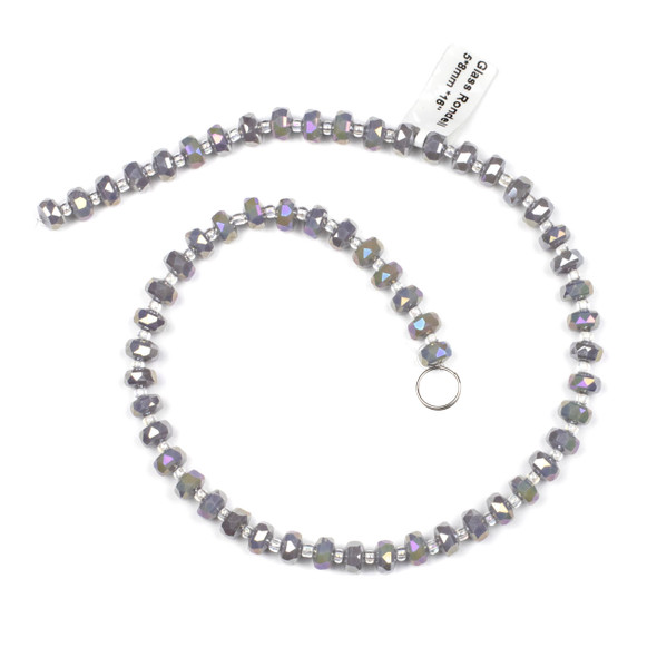 Crystal 5x8mm Opaque Grey Faceted Heishi Beads with an AB finish - 16 inch strand