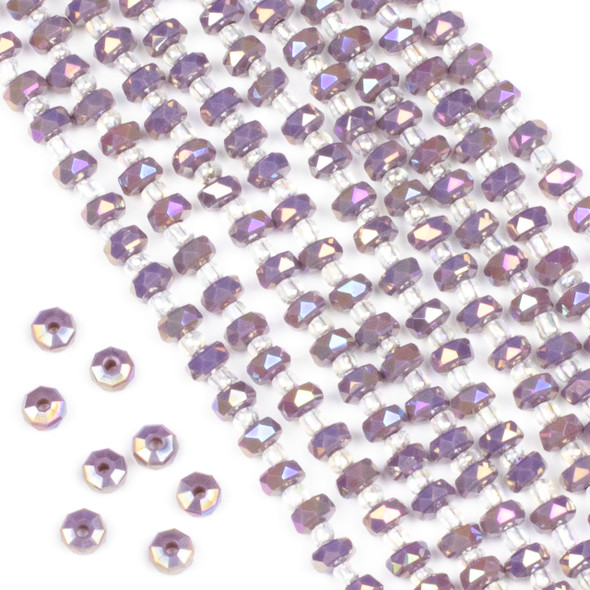 Crystal 4x6mm Opaque Purple Hydrangea Faceted Heishi Beads with an AB finish - 16 inch strand
