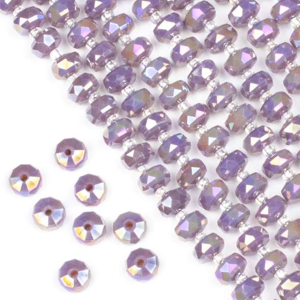 Crystal 5x8mm Opaque Purple Hydrangea Faceted Heishi Beads with an AB finish - 16 inch strand