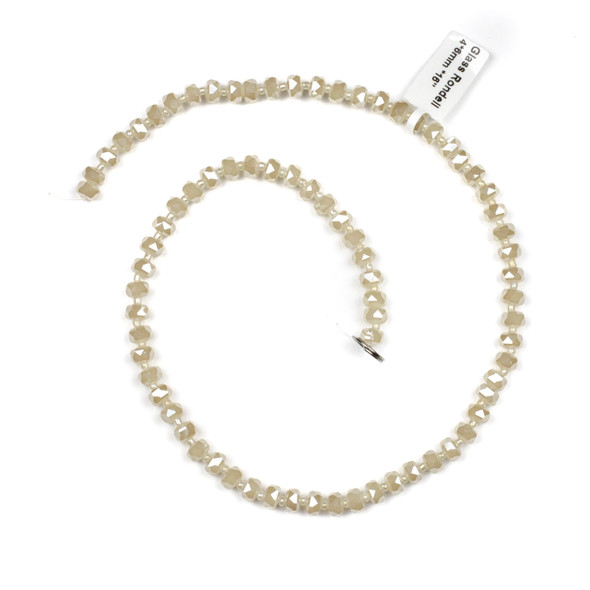 Crystal 4x6mm Opaque Sand Faceted Heishi Beads - 16 inch strand