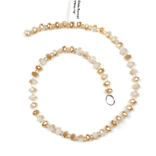 Crystal 5x8mm Opaque Honey Kissed Cream Faceted Heishi Beads - 16 inch strand