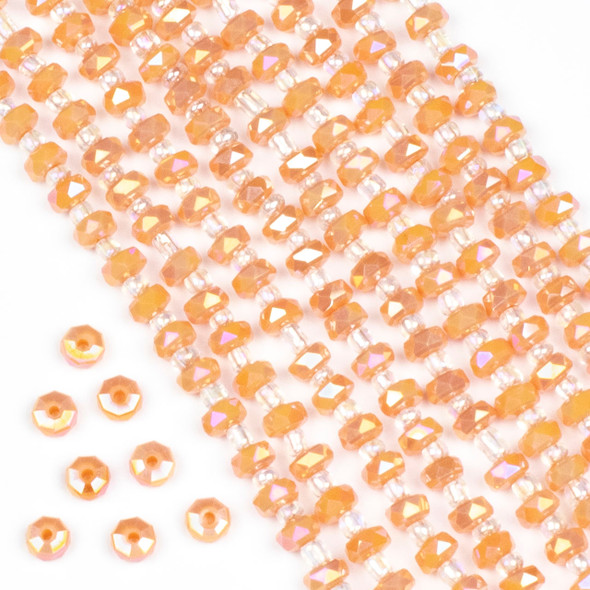 Crystal 4x6mm Opaque Apricot Faceted Heishi Beads with an AB finish - 16 inch strand