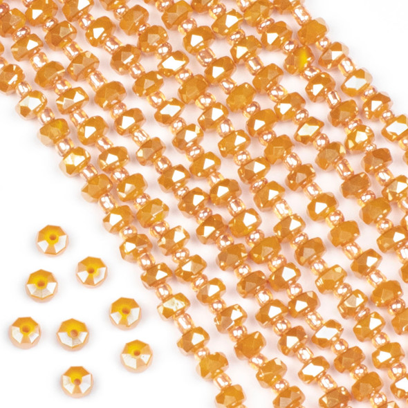 Crystal 4x6mm Opaque Pumpkin Spice Faceted Heishi Beads - 16 inch strand
