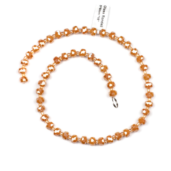 Crystal 5x8mm Opaque Pumpkin Spice Faceted Heishi Beads - 16 inch strand
