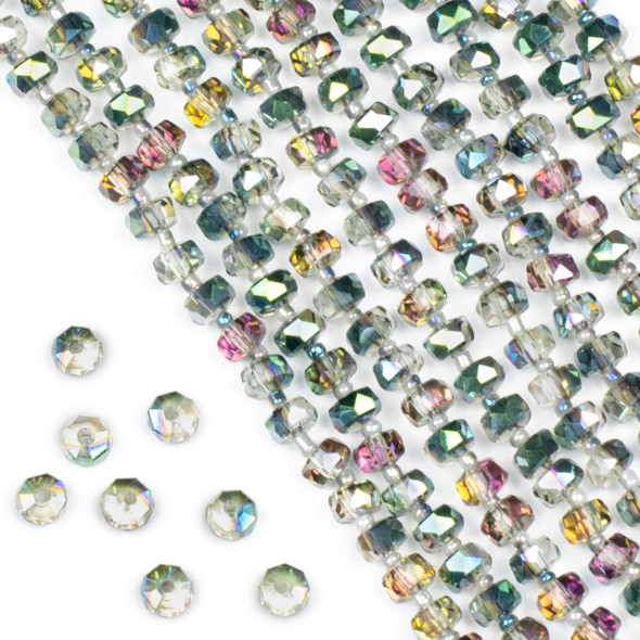 Crystal 4x6mm Watermelon Pink and Green Faceted Heishi Beads - 16 inch strand