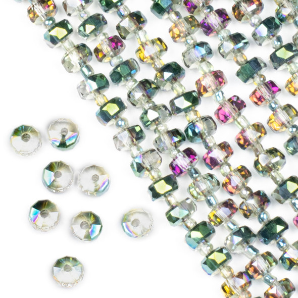 Crystal 5x8mm Watermelon Pink and Green Faceted Heishi Beads - 16 inch strand