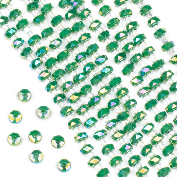 Crystal 4x6mm Opaque Ming Jade Green Faceted Heishi Beads with an AB finish - 16 inch strand