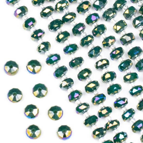 Crystal 5x8mm Opaque Pine Green Faceted Heishi Beads with an AB finish - 16 inch strand
