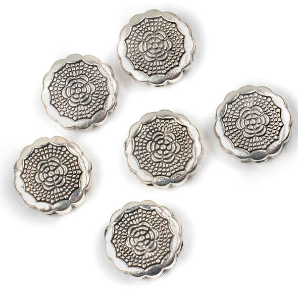 Silver Pewter 20mm Scalloped Coin Bead with Sunbursts - 6 per bag - basea8in26299gm