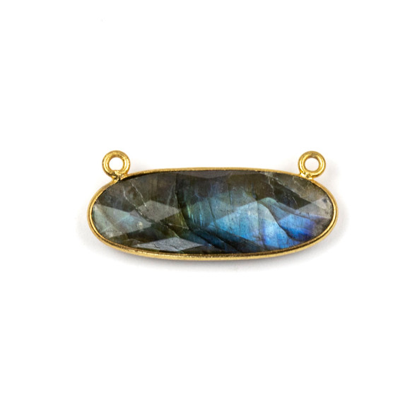 Labradorite 11x30mm Faceted Oval Pendant Drop with with a Gold Plated Brass Bezel and Loops - 1 per bag