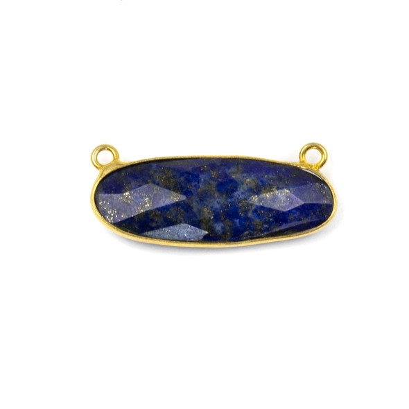 Lapis 11x30mm Faceted Oval Pendant Drop with with a Gold Plated Brass Bezel and Loops - 1 per bag