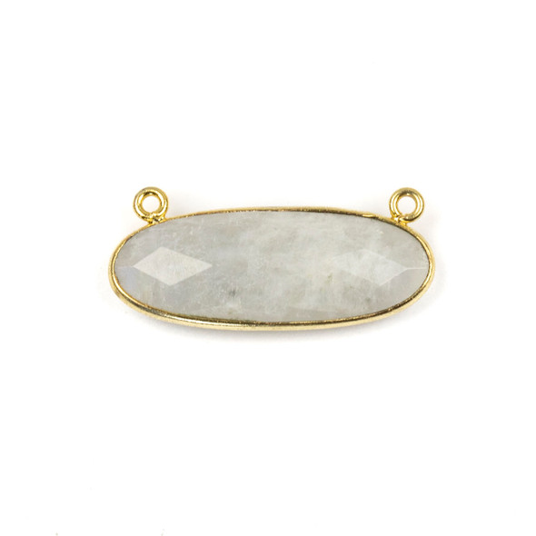 Moonstone 11x30mm Faceted Oval Pendant Drop with with a Gold Plated Brass Bezel and Loops - 1 per bag