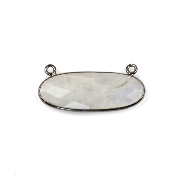 Moonstone 11x30mm Faceted Oval Pendant Drop with with a Gun Metal Plated Brass Bezel and Loops - 1 per bag