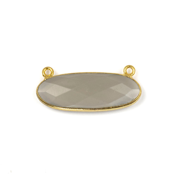 Grey Moonstone 11x30mm Faceted Oval Pendant Drop with with a Gold Plated Brass Bezel and Loops - 1 per bag