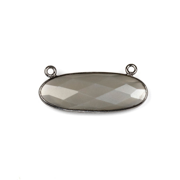 Grey Moonstone 11x30mm Faceted Oval Pendant Drop with with a Gun Metal Plated Brass Bezel and Loops - 1 per bag