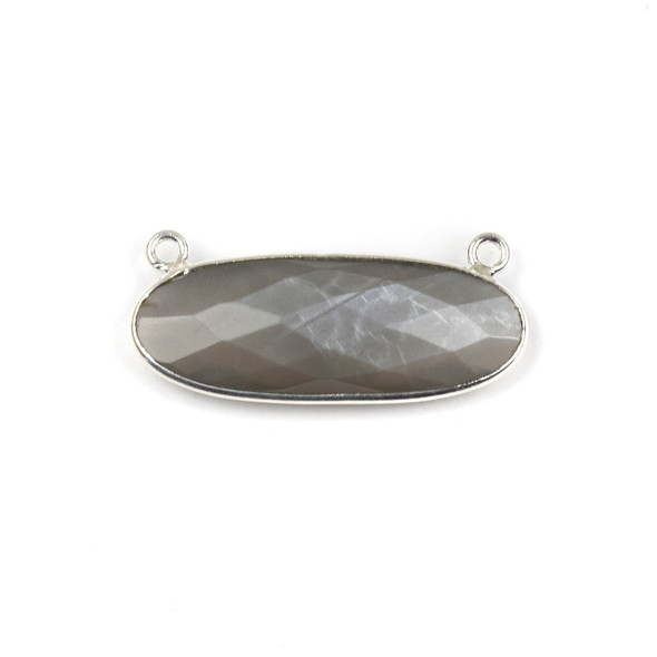 Grey Moonstone 11x30mm Faceted Oval Pendant Drop with with a Silver Plated Brass Bezel and Loops - 1 per bag